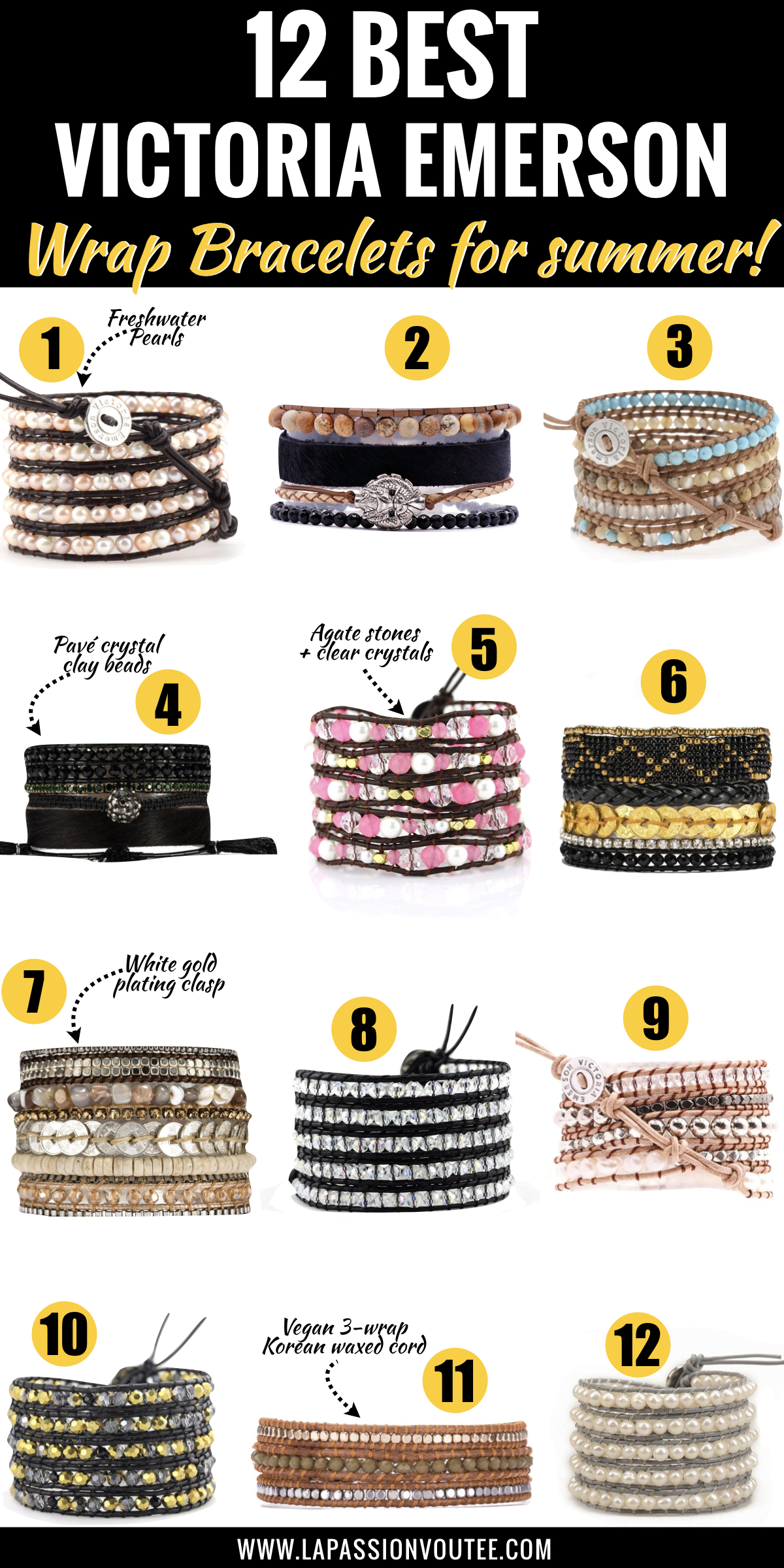 These are my favorite handmade leather wrap bracelets. The June Birthstone Wrap Bracelet ranks high on my favorites and so does the Pinktricity Classic Wrap made from agate stones and clear crystals.