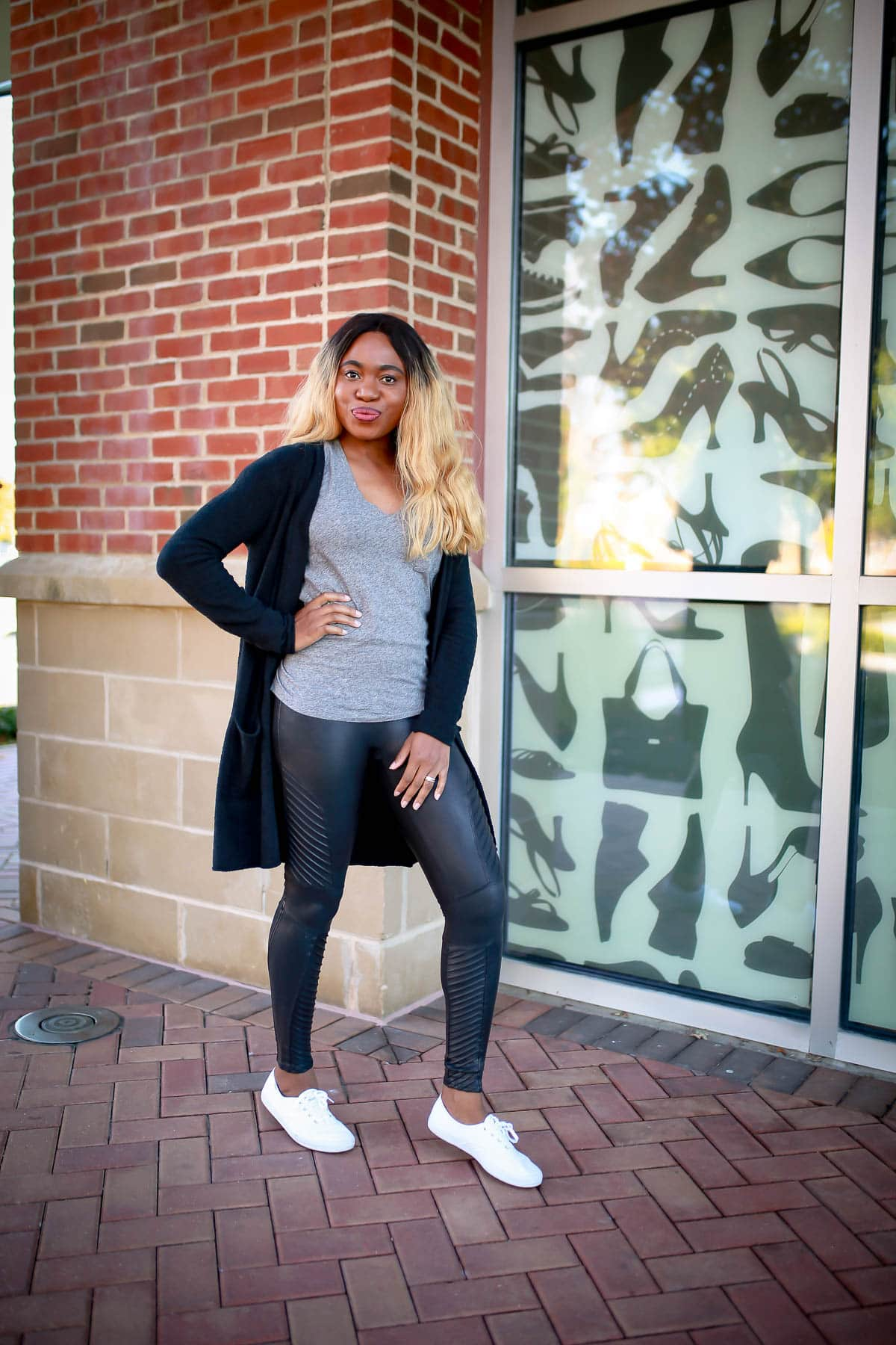 Spanx Moto leggings outfit | Sharing a simple biker-chic way to style the Spanx Faux Leather Moto Leggings on the blog with Nordstrom. Why everyone is raving about this luxury leggings and if this leggings truly lives up to its name as a Spanx bestseller.