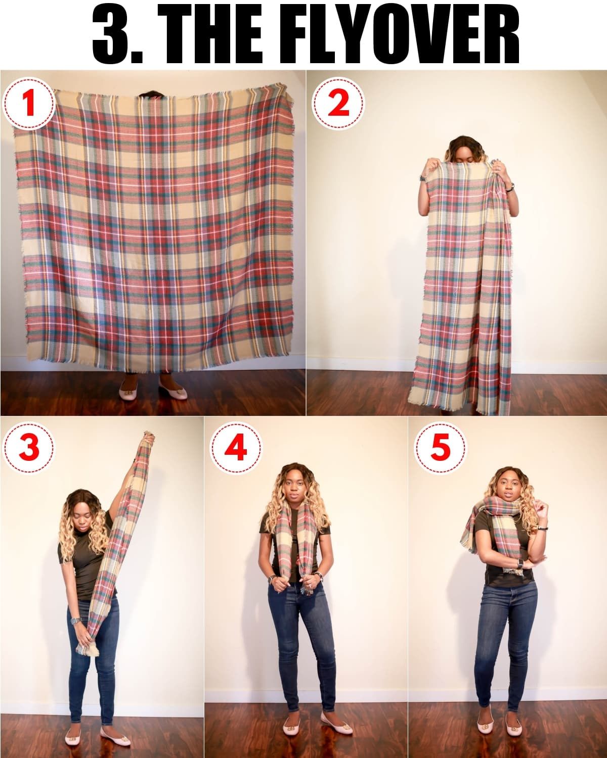 Check out these 5 ways to wear a blanket scarf for fall and winter. These quick blanket scarf tutorial will uplevel your winter wardrobe in no time!