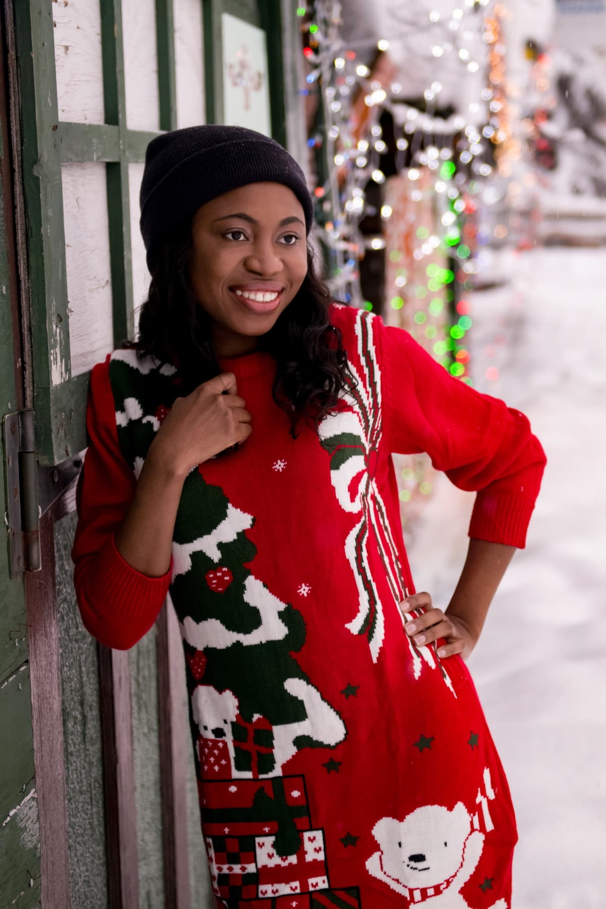 Ugly Christmas Sweater Outfit | Having so much fun in the snow rocking this ugly Christmas sweater dress. All about staying warm and comfortable this season! #uglysweater #xmassweater #sweaterdress