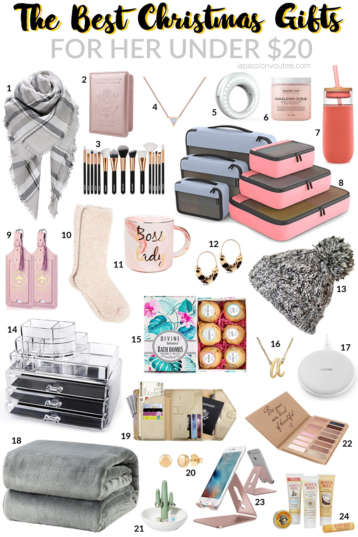 Wow friends and family with these best Christmas gifts for her under $20 that won't break the bank. #3, #8, #10, #23 are my absolute favorite. These presents are cute, practical and will be used for years to come. #giftsforherchristmas #giftsforwomen #giftsforwife #giftsformom