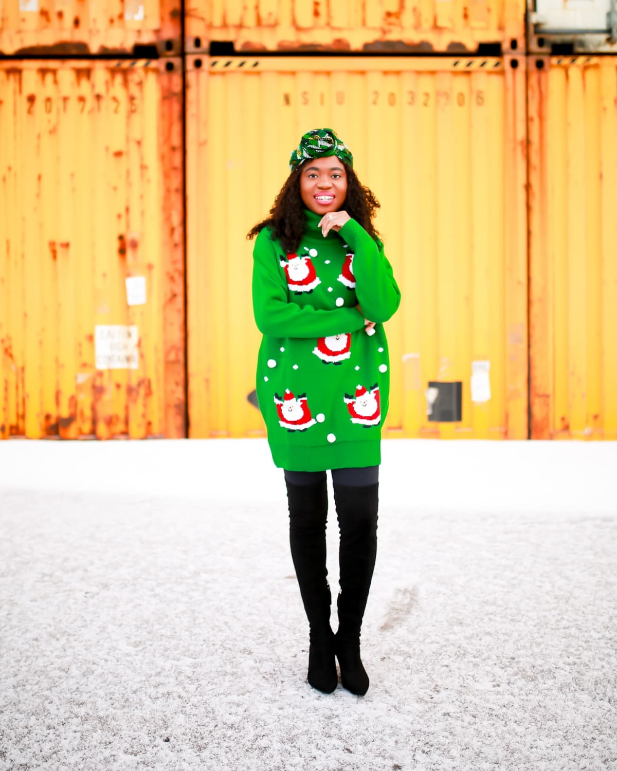 Looking for a stylish and cute Christmas sweater dress to rock this year? You're in luck! This affordable Xmas sweater is up for grabs and ships free. How to style your sweater and where to get this sweater dress right now. #uglychristmassweaterparty #sweaterdress
