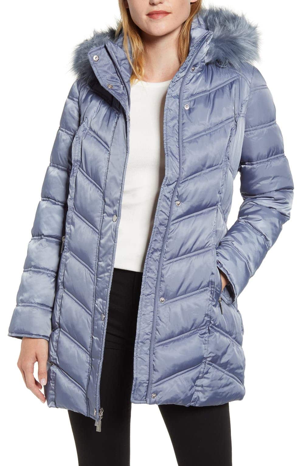 Kenneth Cole Faux Fur Trim Puffer Jacket