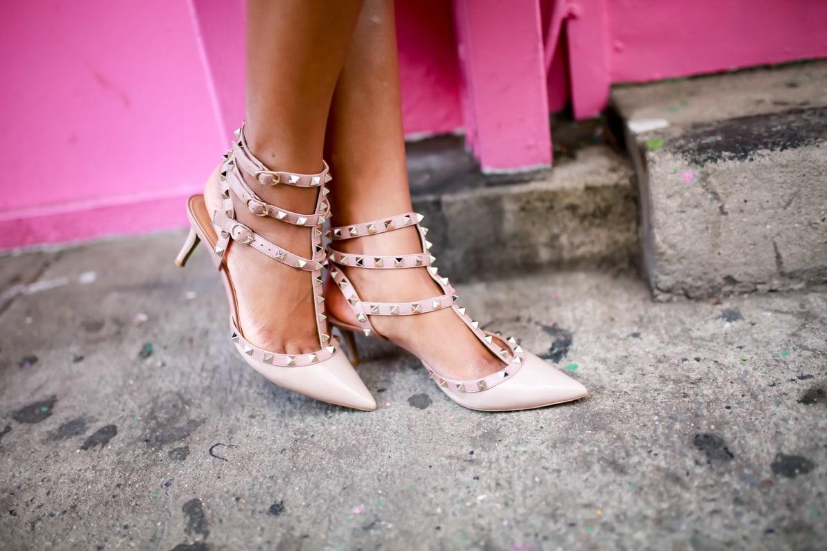 Designer-inspired Valentino Rockstud sandals with kitten heels for New York Fashion Week