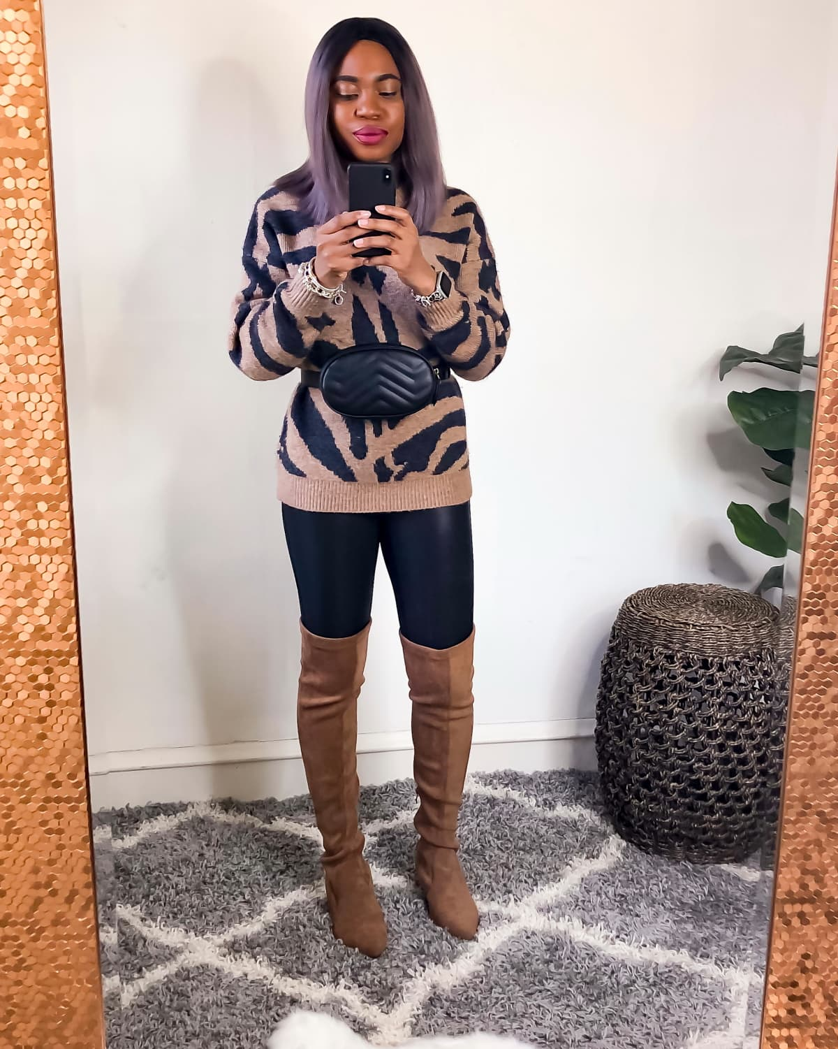 Tiger Print Shirt for women - Styled with faux leather leggings and on-trend over the knee boots and stylish belted waist purse