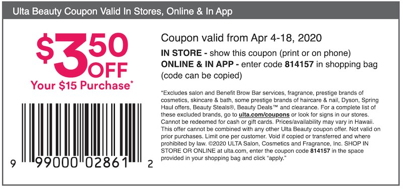 Use this coupon to save $3.50 off $15 at Ulta Beauty.