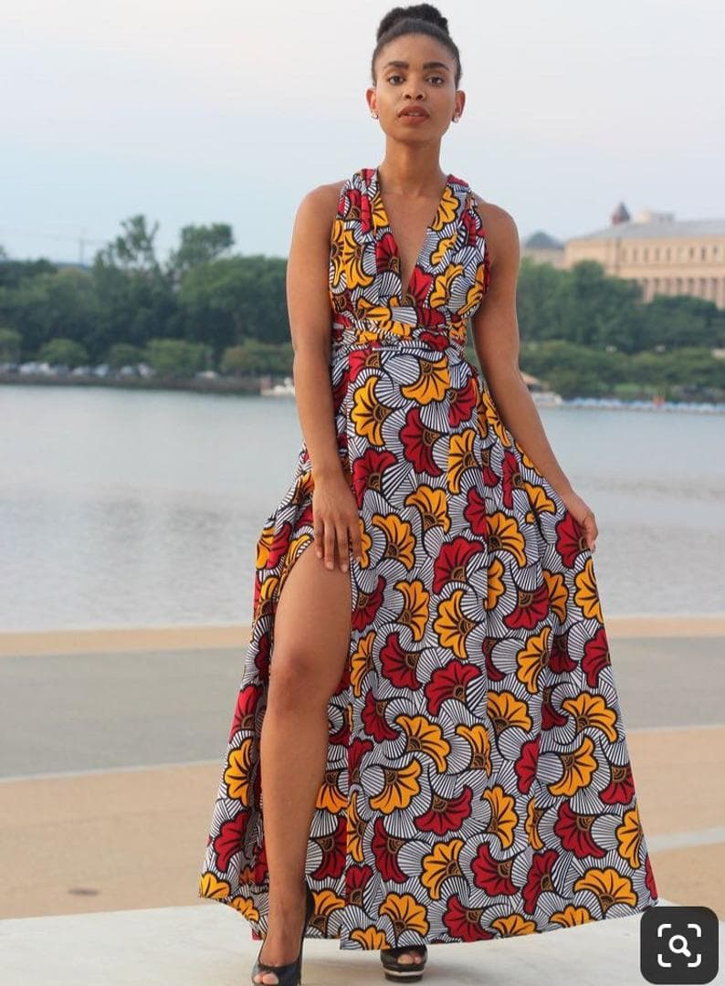 A simple sexy long African print infinity dress for every girl