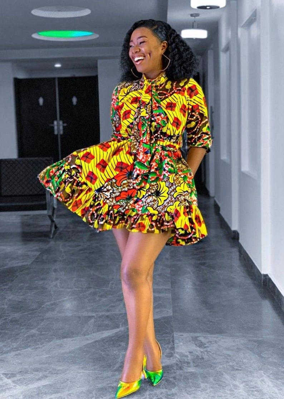 A super short super sexy ankara midi dress to rock