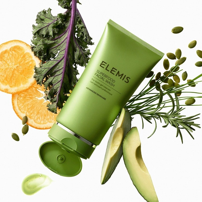 Elemis Superfood Facial wash with its key ingredients