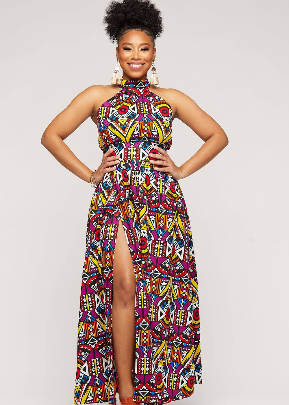 Take a look at this beautifully styled halter long African print dress