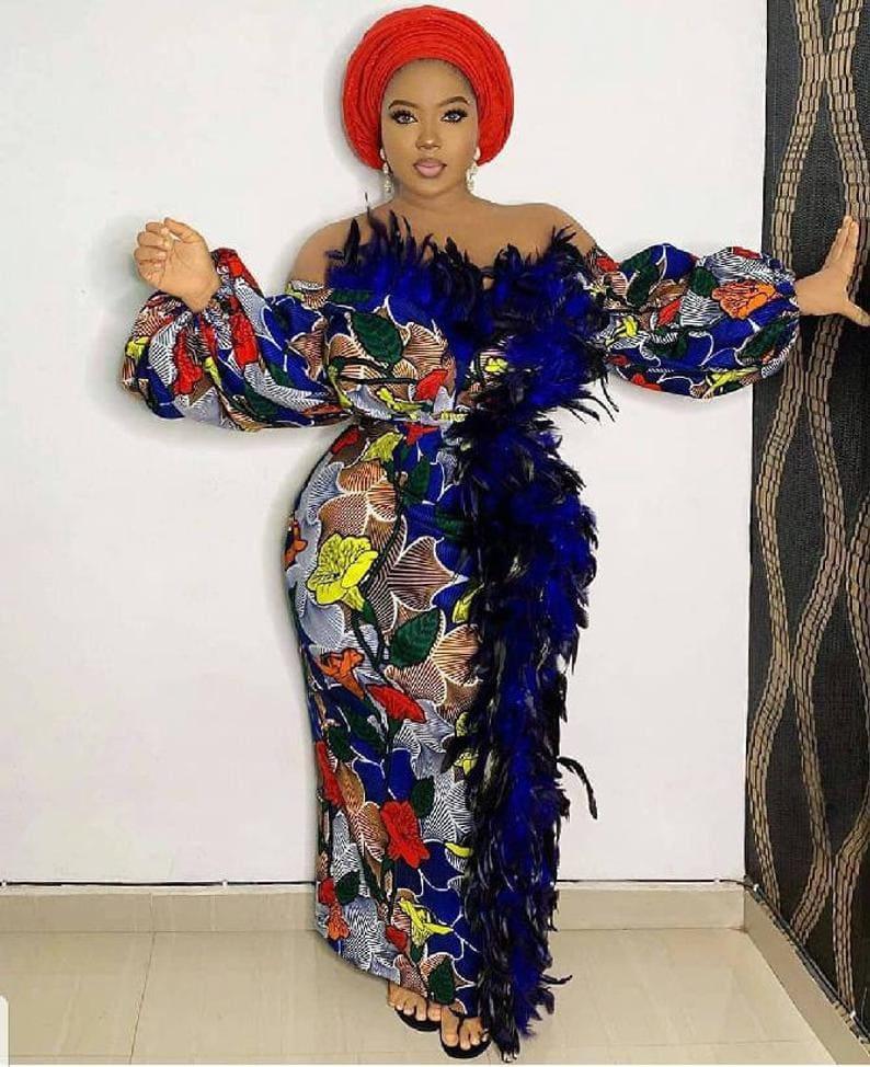 A statement piece traditional African wedding dress