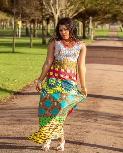 Inspired African patchwork multistep ankara maxi gown from ebay