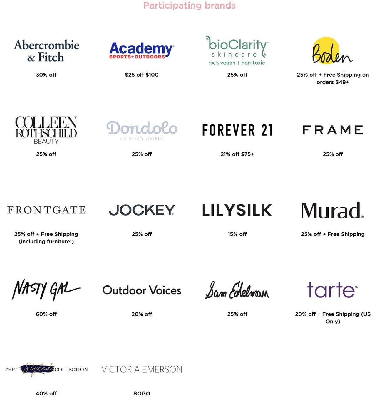 Brands participating in the 2020 LTK Day from rewardStyle!