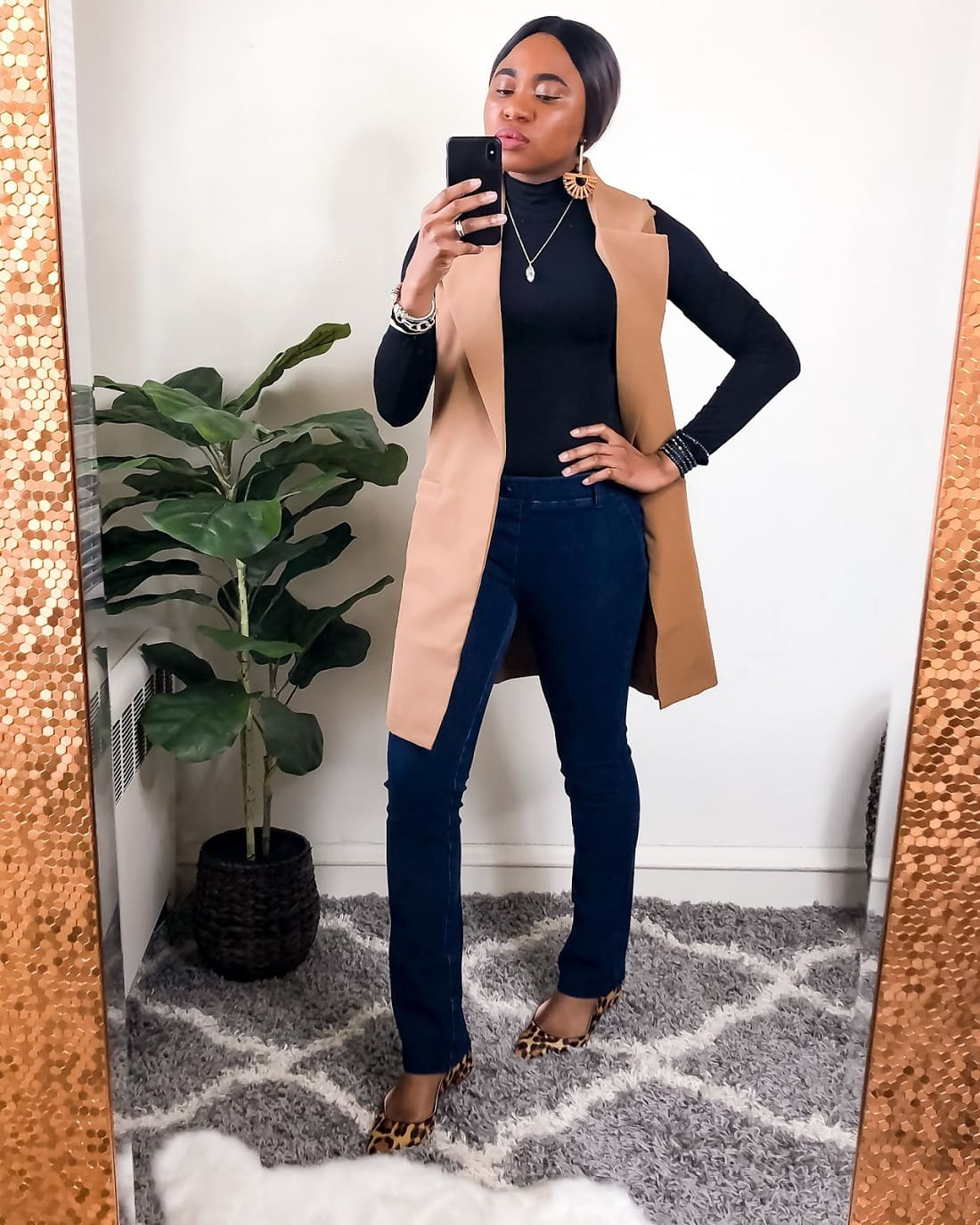 This Turtleneck and lapel jacket adds style to this Betabrand jean