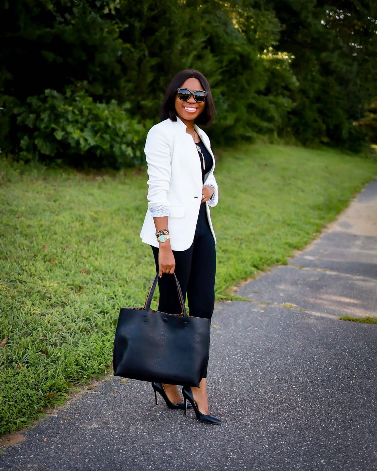 Spanx The Perfect Black Pant review and Commando seamless bodysuit paired with Nordstrom Anniversary Sale under $50 white blazer.