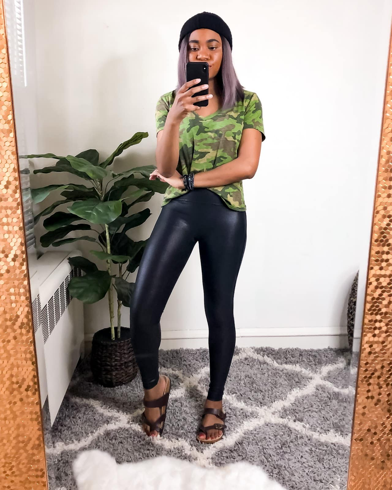 A cute cameo top with my Spanx faux leather legging