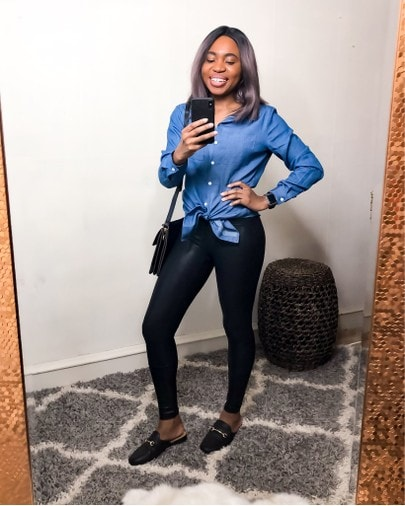 Looking chic in this chambray top with my Spanx leggings