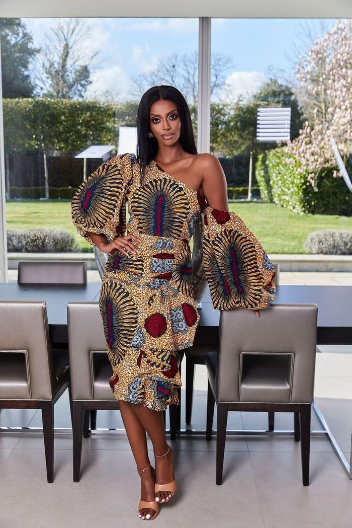 A stunning off shoulder african print dress