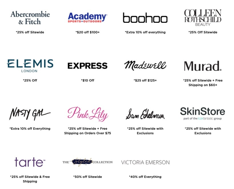Brands participating in the 2020 LTK Fall Sale from rewardStyle!