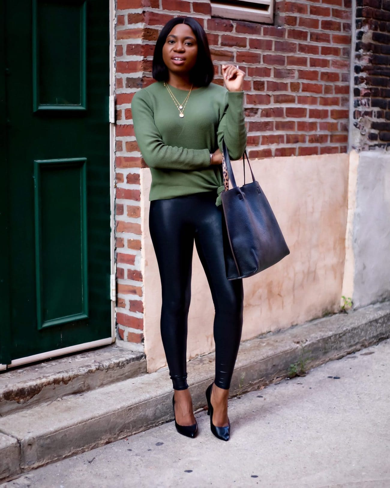 styling spanx faux leather leggings