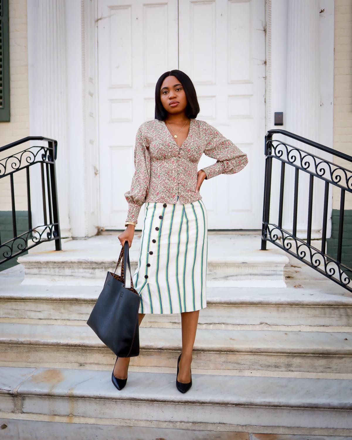 Office style with midi skirt