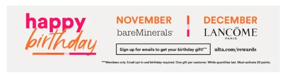 November Ulta Birthday Gift 2020