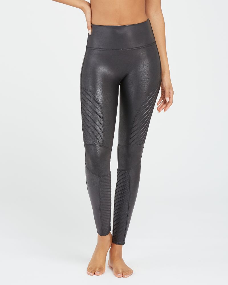"""Spanx Faux Leather Moto Leggings - You've heard raving reviews and seen """"these"""" Spanx leggings on everyone but are they worth it? Here's what you should know about these expensive Spanx leggings."""