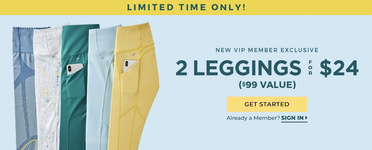 Fabletics 2 for $24 Promo